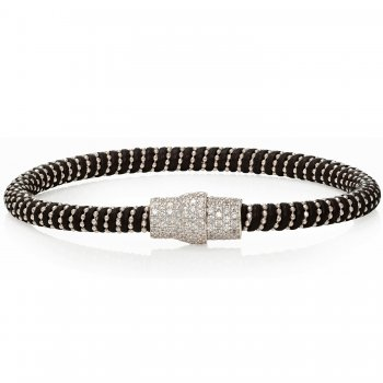 Ingenious black leather bracelet with silver pave magnetic clasp
