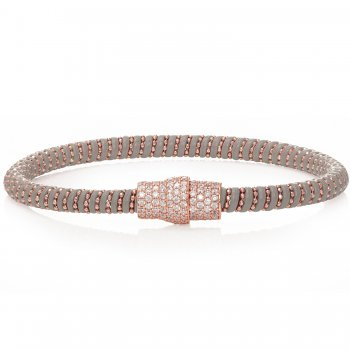 Ingenious grey leather bracelet with rose gold magnetic clasp