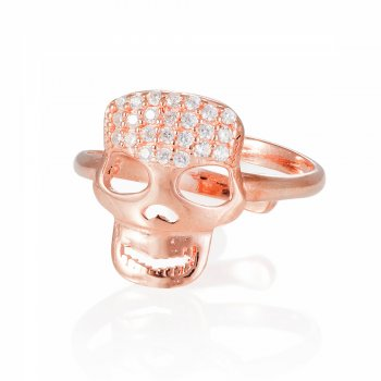 Ingenious rose gold adjustable skull ring
