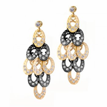Ingenious gold and black rhodium chandelier earrings encrusted with cubic zirconia crystals