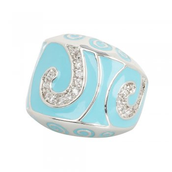 blue enamel ring with carved shapes and crystals