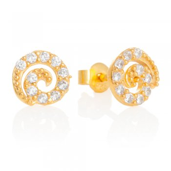 Ingenious gold stud earrings with pave swirls