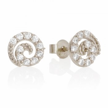 Ingenious silver stud earrings with pave swirls
