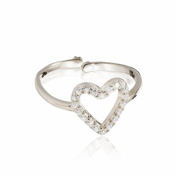 Ingenious silver adjustable open pave heart ring