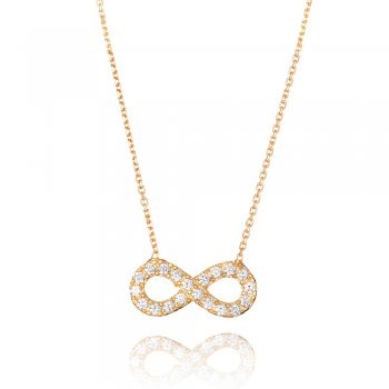 Ingenious Gold necklace with medium pave infinity