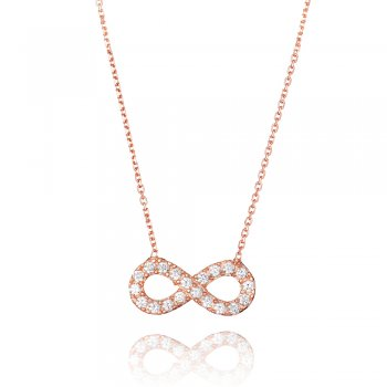 Ingenious rose gold necklace with medium pave infinity