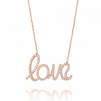 Ingenious rose gold necklace with large pave word love