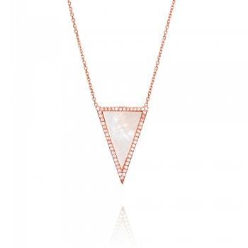 Ingenious rose gold necklace with mother of pearl triangle