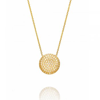 Ingenious gold necklace with curved pave circle