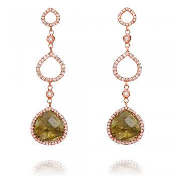 Ingenious rose gold earring with open circles and labradorite stone