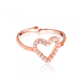 Ingenious Rose gold open pave heart ring adj