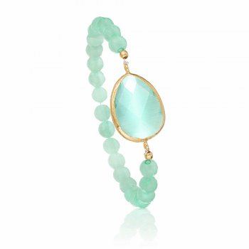 Ingenious amazonite beaded bracelet with green cat's eye