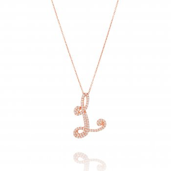 Ingenious rose gold necklace with pave letter L