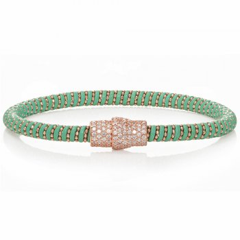 Ingenious green leather bracelet with gold pave magnetic clasp