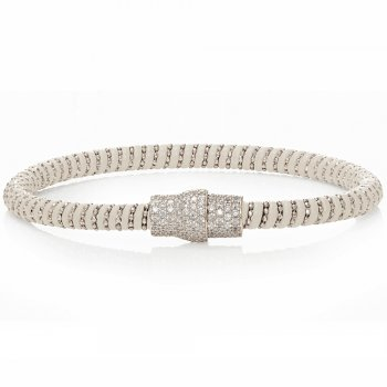 Ingenious white leather bracelet with silver pave clasp
