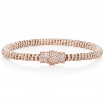 Ingenious white leather bracelet with rose gold pave magnetic clasp