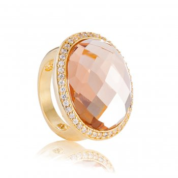 Ingenious gold oval champagne stone ring with clear pave surround