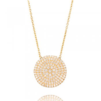 gold necklace with large pave circle