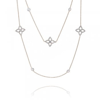 long diamond by the yard silver necklace with open pave flowers