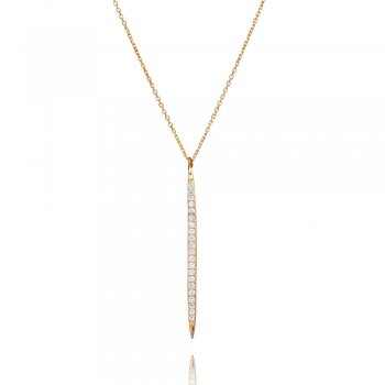 Ingenious gold necklace with vertical pave line