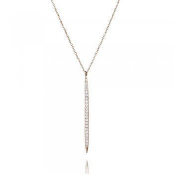 Ingenious silver necklace with vertical pave line
