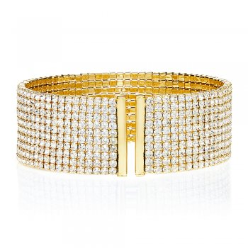 Ingenious gold bangle with 10 rows of pave