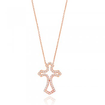 Ingenious rose gold pave cross necklace