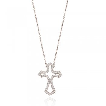 Ingenious silver pave cross necklace