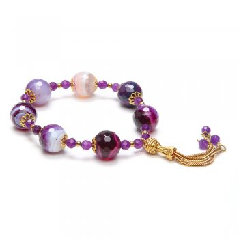 Ingenious amethyst beaded bracelet with gold tassels
