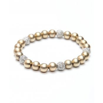 gold bracelet with crystal incrusted beads
