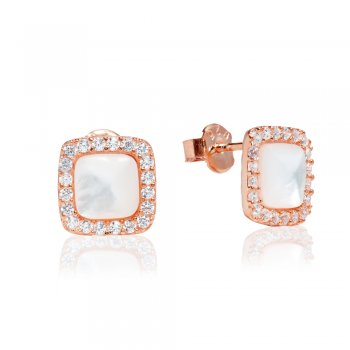 Ingenious small rose gold stud earrings with mother-of-pearl centre and pave surround