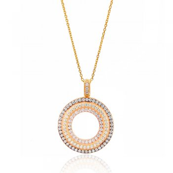 gold necklace with three colour circle