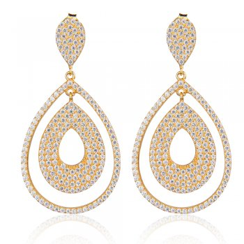 Ingenious gold earrings with pave pear shapes