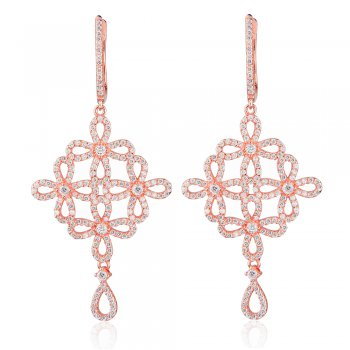 Ingenious rose gold chandelier earrings with open flowers