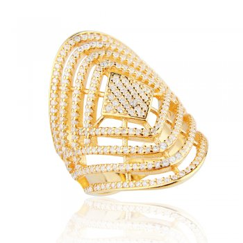 Ingenious gold cocktail ring with multi line pave design