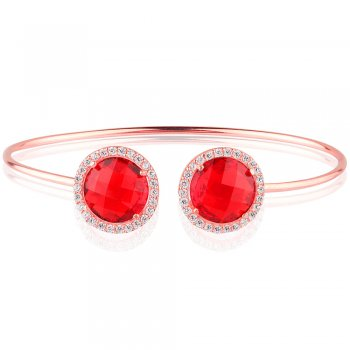 Ingenious rose gold bangle with two red crystals
