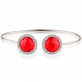 Ingenious silver bangle with two red crystals