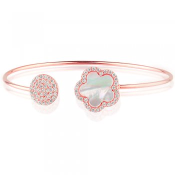 Ingenious rose gold bangle with mother of pearl flower and pave disc