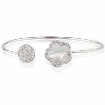 Ingenious silver bangle with mother of pearl flower and pave disc