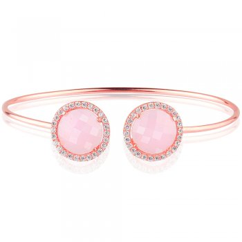 Ingenious rose gold bangle with two pink quartz crystals