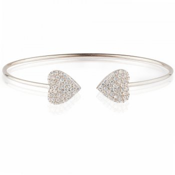 Ingenious silver bangle with two pave hearts