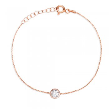 Ingenious rose gold ankle chain with large single crystal
