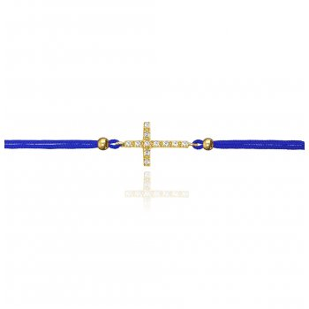 Ingenious blue string bracelet with gold pave cross