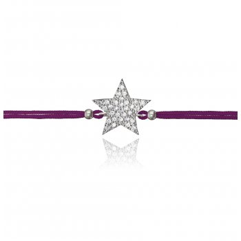 Ingenious purple string bracelet with silver pave star