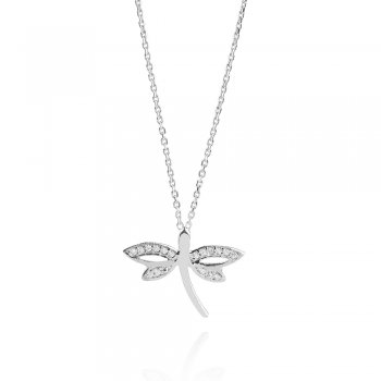 Ingenious silver necklace with dragonfly pendant