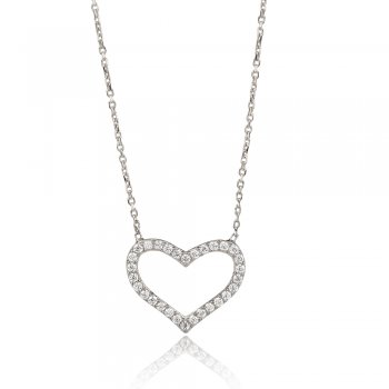 Ingenious sterling silver necklace with open pave heart