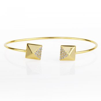 Ingenious gold adjustable bangle with pyramid ends