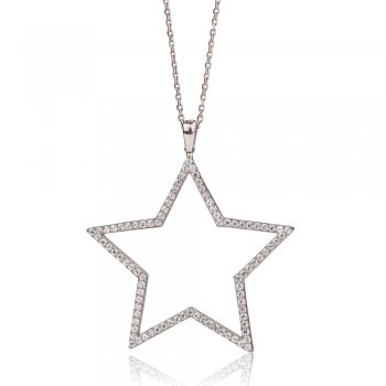 Ingenious Silver long star necklace