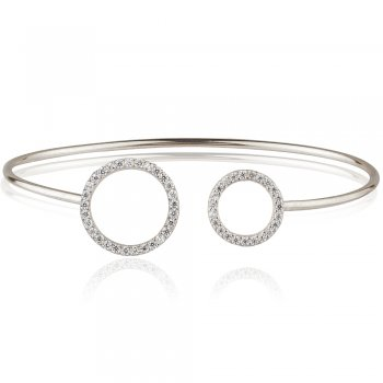 Ingenious silver bangle with open pave circles