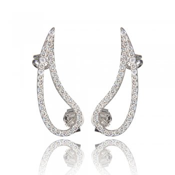 Ingenious silver ear cuff with open pave teardrop shape